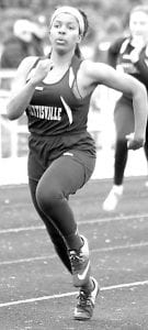 Pettisville's Xavia Borden, left, was the winner of the girls 100-meter dash in a tri-meet with Archbold and North Central, Tuesday, April 2, at Pettisville. Right: Quinn Wyse runs a leg of the boys 4x200.– photos by Beth Foor