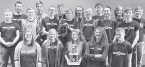 """The Pettisville High School quiz team, the """"Nerd Herd,"""" with the trophy for winning the 2019 Northern Buckeye Academic League tournament, Friday, March 15, and a plaque for winning the NBAL regular season. Nerd Herd teams have qualified for state and national events. Front row, from left: Madelyn Krueger, Lyla Heising, Bekah Liechty, Birch Baer, Dylan Rash. Second row: Heath Waidelich, Levi Myers, Peyton Miller, Austin Rearick, Pete Rupp, Zach Morrison, Tyler Smith. Third row: Jake King, Luke Young, Zach Basselman, Aaron Rupp, Theary Eash, Josh Bock, Dalton Myers.– courtesy photo"""