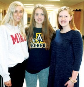 Juniors Lauren Coressel, Chloe Nofziger, and Riah Short, from left, put together a plan to bring self-defense classes to Archbold High School. The classes are taught by KOGS, or Keeping Our Girls Safe, a group formed in reaction to the abduction and murder of a Metamora woman in 2016.– photo by David Pugh