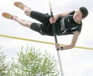 Zach Morrison, a senior, won the pole vault at the BBC Championships.– photo by Beth Foor