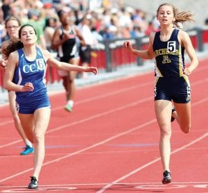 Above left: Dakota Stamm edges out Cornerstone's Abby Suszek at the finish line to win her second straight Division III 400-meter state championship, Saturday, June 1, in Columbus. Stamm defeated Suszek of Cornerstone by 18 one-hundredths of a second finishing in a school-record time of 55.82 seconds. Suszek ran the race in 56 seconds. Top right: Dina Gladieux, AHS head track & field coach, hugs Iris Pena as they cry tears of joy together after the AHS relay team of Pena, Kylie Sauder, Gwynne Riley, and Stamm won the 4x400-meter relay. Bottom right: Rachel Kinsman, assistant track coach, offers congratulations to a crying Pena after the 4x400 victory. The AHS girls team finished as runners-up in the team competition, the first time ever an AHS track team has accomplished the feat. For more details, see pages 5,6, and 12.– photos by Mary Huber