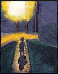 """This painting, """"Into The Night,"""" is one of several in Jessica Flores' portfolio. It was inspired by her son Jacob, now 8, walking toward a streetlight. In addition to creating her works, she teaches painting.– courtesy photo"""