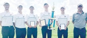 The Pettisville golf team won the Woodmore Wildcats Golf Invitational, Wednesday, Aug. 7. From left: Jake King, Josh Horning, Max Leppelmeier, Tommy McWatters, Caleb Nafziger, Mike Zimmerman, head coach.– courtesy photo