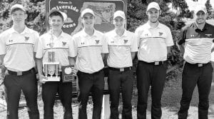 The Pettisville golf team won its second invitational of the season, Saturday, Sept. 7, when the Birds won the Stryker Invitational. Team members include, from left: Tommy McWatters, Max Leppelmeier, Josh Horning, Caleb Nafziger, Jake King, Mike Zimmerman, coach. Leppelmeier was also named to the All-Tournament Team.– courtesy photo