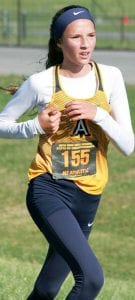 Sophie Rupp, a freshman, finished 45th in her first high school state meet.– photo by Lynn Roth