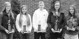 Cross Country From left: Elise Hoylman, Rookie of the Year; Kate Stuber, .MV...P; Z.........................ach McWatters,. R.........ookie of the Year; Sarah Foor,......... C.........oaches Awa................rd; Taylor Balser,...... Most Im........proved.– courtesy photos