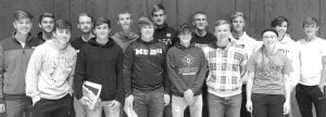 Soccer Front row, from left: Gonzola Pajares,.. MV...P, Honorable Mention All-District; Mitchell Avina, Honorable Mention All-District; Andrew Hulbert, scholar athlete; Quinn Wyse, Second Team All-District; Heath..................... Waidelich,....... scholar athlete; Elise Hartzler, scholar athlete. Back row: Micah Yoder, scholar athlete; Ben Morris, Most Improved, scholar athlete; Aaron Rupp, scholar athlete; Nick Davis, scholar athlete; Luke Young, scholar athlete; Joel Flory, Coaches Award, scholar athlete; Brayden Barrett, Best Defensive, scholar athlete; Tyler Smith, scholar athlete; Zakkai Kaufmann, Honorable Mention All-District.