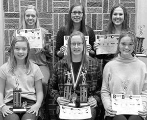 Volleyball Front row, from left: Paris Coopshaw, Most Improved; Danielle King, Hustle award, Spark Plug award, First Team All-BBC, BBC scholar athlete; Ryeana Klopfenstein, Honorable Mention All-BBC, BBC scholar athlete. Back row: Anneli Shaw, BBC scholar athlete; Megan King, BBC scholar athlete; Mikayla Graber, Spark Plug award, Second Team All-BBC, BBC scholar athlete.