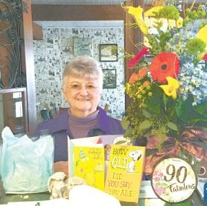 Shirley Wyse with some of the cards and gifts she received for her 90th birthday, Monday, Nov. 18.– courtesy photo