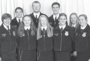 Attending the National FFA Convention were, front row, from left: Andrew Hulbert, Kayla Wyse, Jessica McWatters, Clara Damman, Ava Hoylman. Back row: Carson Bennett, Baden Skates, Matthew Rupp, Karson Pursel. John Poulson is the Pettisville FFA advisor.– courtesy photo