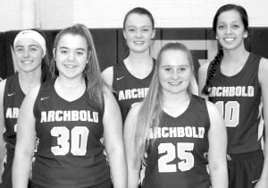 Letterwinners on the AHS girls basketball team are, from left: Kylie Sauder, Harley Phillips, Abi Borojevich, Addison Moyer, Naomi Rodriguez.– photo by Mary Huber