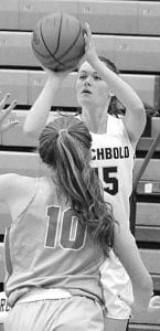Abi Borojevich shoots a trey in Archbold's game with Eastwood.– photo by Mario Gomez