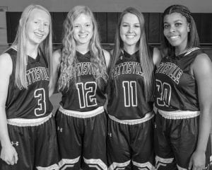 Letterwinners returning on the PHS girls basketball team are, from left: Jessica McWatters, Heather Sauder, Mikayla Graber, Xavia Borden.– photo courtesy Ambria Photography