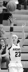 Kylie Sauder takes a shot from the corner. She scored 14 points in Archbold's win over Springfield.– photo by Mario Gomez