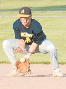 Brandon Taylor fields the ball in the second inning in Archbold's Acme baseball contest with Anthony Wayne, Tuesday, June 16.– photo by Mario Gomez
