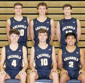 Six letterwinners are back on the AHS boys basketball team. Front row, from left: Alex Roth, DJ Newman, Noah Gomez. Second row: Austin Roth, Trey Theobald, Kobe Kennedy.– photo courtesy Brian Becher