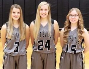 Letterwinners on the PHS girls basketball team are, from left: Ellie Grieser, Alli King, Elise Hartzler.– photo courtesy Pettisville High School