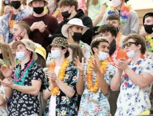 Many in the AHS student section looked like they were ready for spring break at the Div. III regional semifinal between the Streaks and Titans. The high temperature on Wednesday, March 10, was 70 degrees.