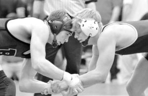 Carson Meyer, right, faces off with Burton Berkshire's Lucas Stoddard in their semifinal match.