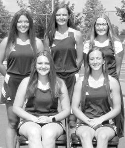 Letterwinners on the AHS girls tennis team are, sitting from left: Katie Rose, Mya Stuckey... Standing: Sophie Schramm, Abbie Short, Aubri Delaney.–photo courtesy Brian Becher