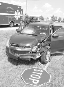 This vehicle was one of two involved in a crash at the intersection of St. Rt. 34 and Henry Co. Rd. 24, Friday, Aug. 20. The intersection has been the scene of several crashes, including a fatal crash on Tuesday, June 15.– photo by David Pugh