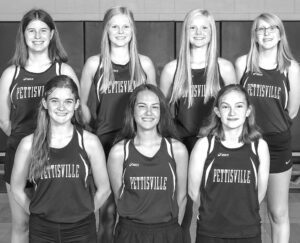 Letterwinners on the Pettisville girls cross country team are, front row from left: Clara Damman, Sophie Sterken, Kelly Wyse. Second row: Kate Roth, Elise Hoylman, Renee Hoylman, Lauren Shumaker.– photo courtesy Ambria Photography