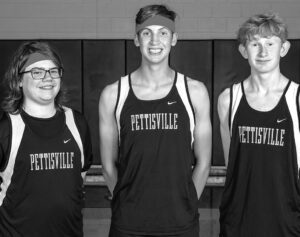 Letterwinners on the Pettisville boys cross country team are, from left: Trenton Moyer, Josh Basselman, Zach McWatters. Missing:Braxton Huner.– photo courtesy Ambria Photography