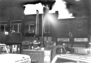 Cold weather hampered the efforts of firefighters battling the Scott Theatre fire on Feb. 20, 1972. Fire hoses froze, and the alley behind the buildings on the east side of the street had a coating of ice. The loss was around $100,000, and 50 firemen and 11 pieces of equipment battled the blaze.